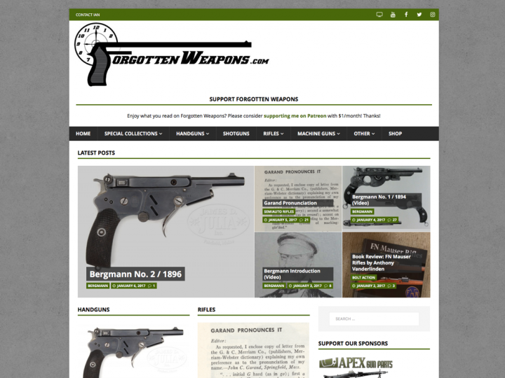 Website Redesign: Forgotten Weapons