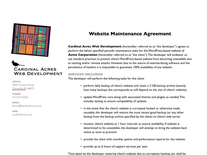 Website Service Agreement