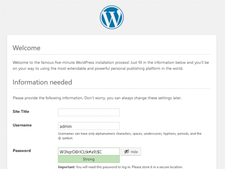 WordPress Installation Attack