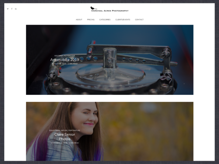 Website Redesign: Cardinal Acres Photography